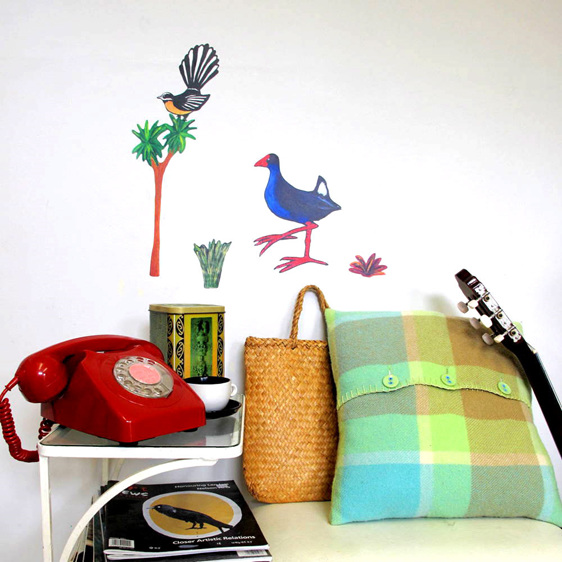 Pukeko and fantail wall decal