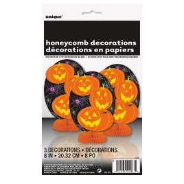 Pumpkin 3 mini honeycomb decorations