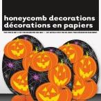Pumpkin 3 mini honeycomb decorations