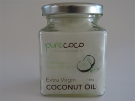 Pure Coco Extra Virgin Coconut Oil - Glass Jar 166gms (190ml)