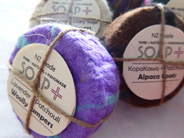 pure natural handmade felted merino and alpaca soaps
