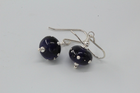 Pure silver trailed earrings - ink blue