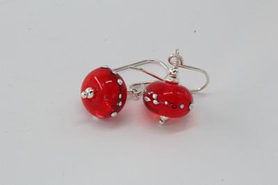 Pure silver trailed earrings - orange