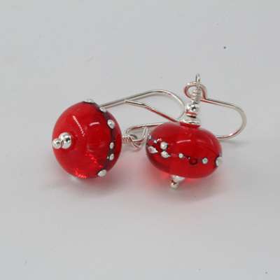 Pure silver trailed earrings - orange