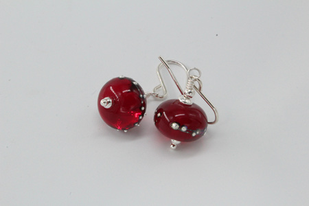 Pure silver trailed earrings - red