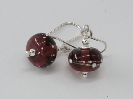 Pure silver trailed earrings - violet