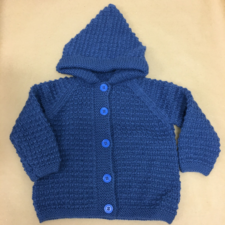 Pure Wool Knitted Hooded Jacket Blue - 2 years
