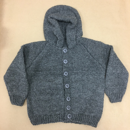 Pure Wool Knitted Hooded Jacket Grey - 2-3 years