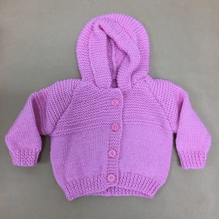 Pure Wool Knitted Hooded Jacket Pink - 0-6 months