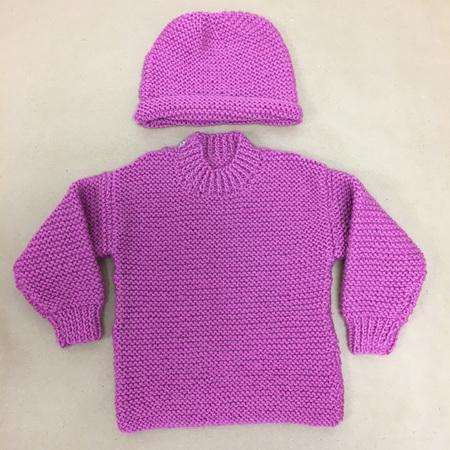 Pure Wool Knitted Jumper & Hat - Dark Pink - 0-4 months