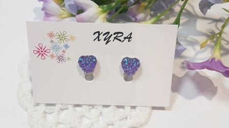 Purple Adorable Heart Clip-on Earrings