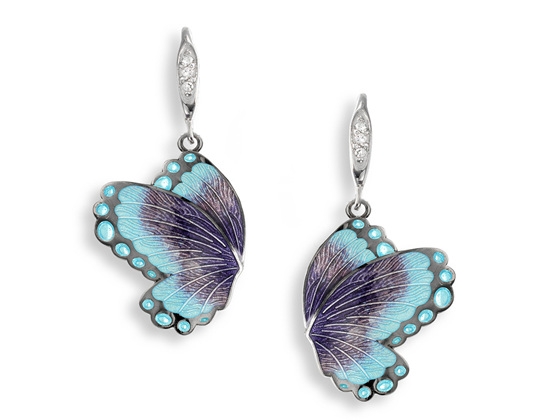 Purple and Blue Enamel Sapphire Butterfly Earrings