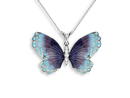 Purple and Blue Enamel Sapphire Butterfly Necklace