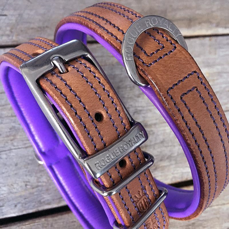 Purple and Tan Leather Dog Collar by Rogue Royalty