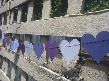 Purple and white heart garland