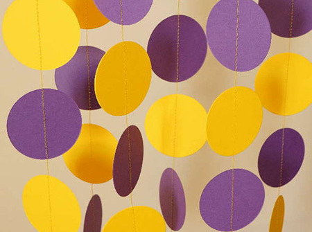Purple and yellow paper garland