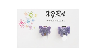Purple Bow Clip-on Earrings