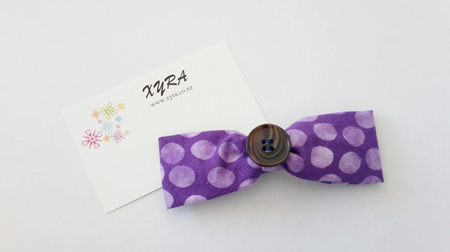 Purple Button Hair Bow