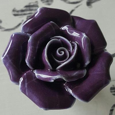 Purple Ceramic Rose Knob