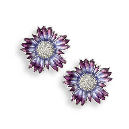 Purple Coastal Tidytip Flower Stud Earrings