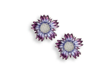 Purple Coastal Tidytip Flower Stud Earrings