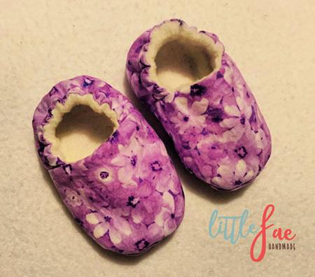 Purple Daisy Baby Shoes