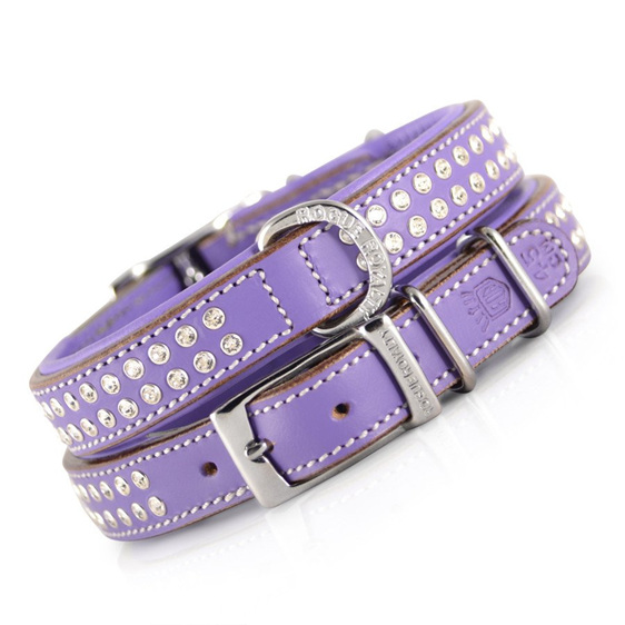 Purple Diamante Leather Dog Collar for Large Dogs by Rogue Royalty
