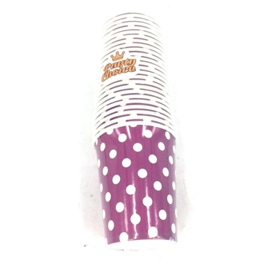 Purple Dots Party Cups x 25