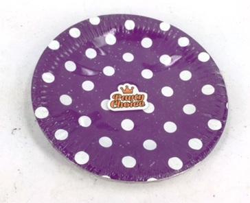 Purple Dots Party Plates x 20