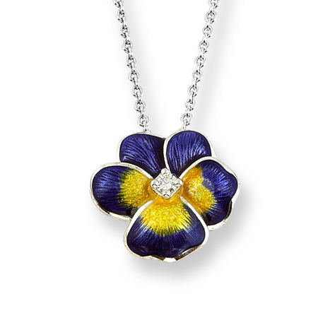 Purple Enamel and Diamond Pansy Necklace