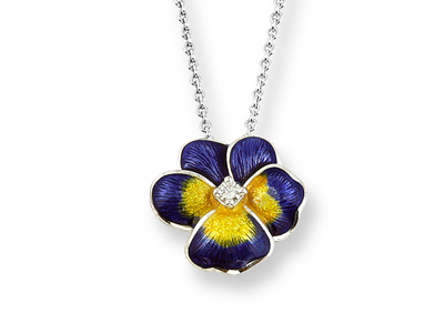 Purple Enamel and Diamond Pansy Necklace