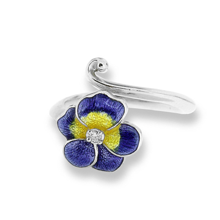 Purple Enamel and Diamond Pansy Ring