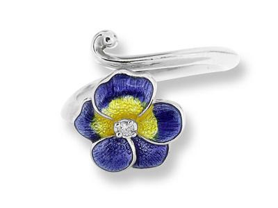 Purple Enamel and Diamond Pansy Ring