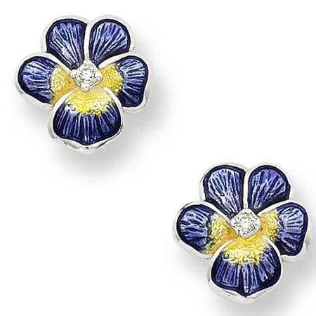 Purple Enamel and Diamond Pansy Stud Earrings