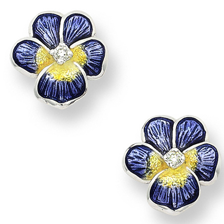 Purple Enamel and Diamond Pansy Stud Earrings