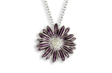 Purple Enamel Daisy Necklace