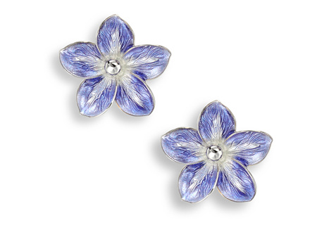 Purple Enamel Forget Me Not Earrings