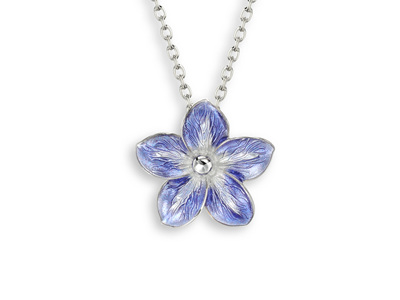 Purple Enamel Forget Me Not Necklace