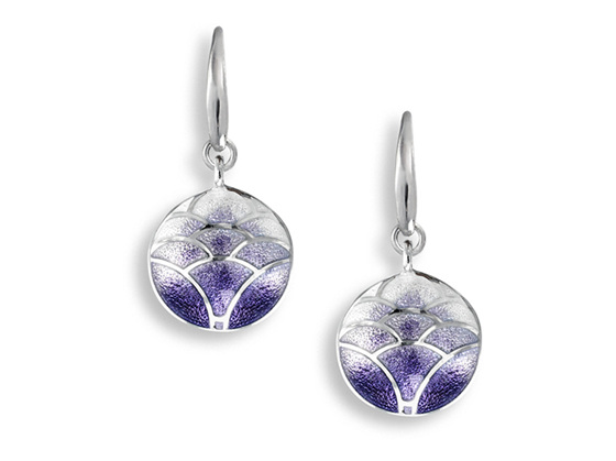 Purple Enamel Lotus Flower Drop Earrings