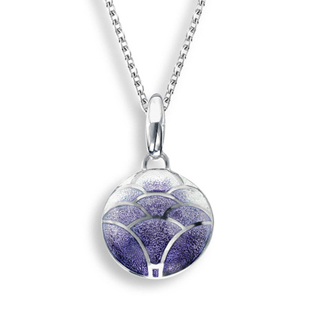 Purple Enamel Lotus Flower Necklace