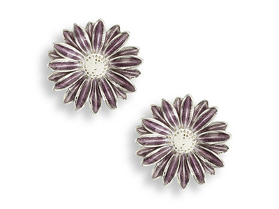 Purple Enamel Daisy Stud Earrings