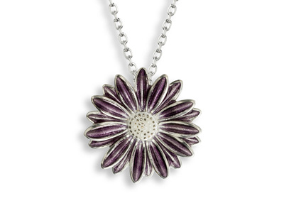 Purple Enamel Daisy Necklace