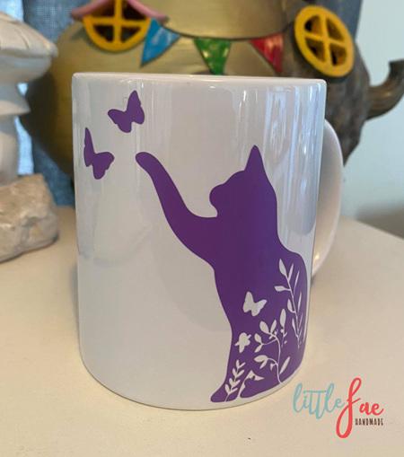 Purple Floral Cat Mug