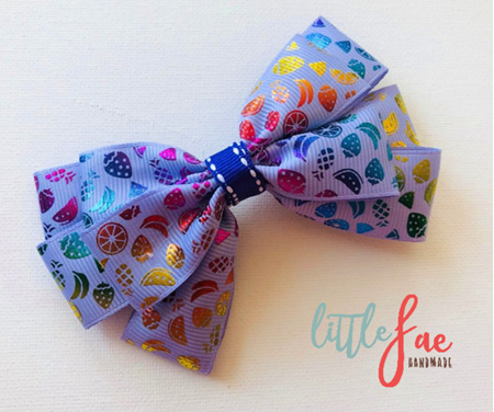 Purple Fruit Salad Bow Hairclip