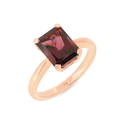 Purple Garnet Solitaire Ring