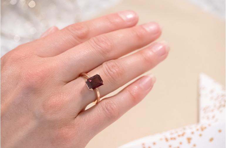 purple garnet octagonal cut rose gold solitaire ring