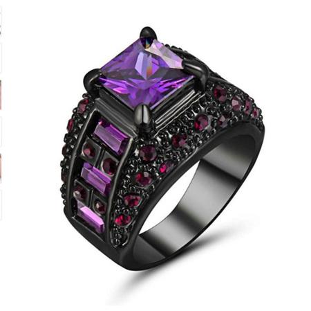 Purple Gemstone and Gunmetal Band Ring (BA141) - US8