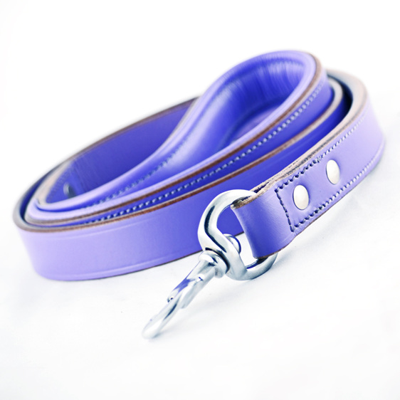 Purple Leather Dog Lead by Rogue Royalty