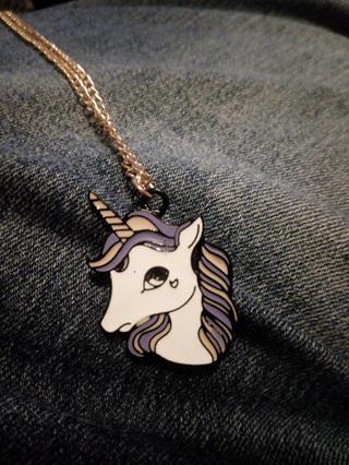 Purple Mane Unicorn Pendant Necklace