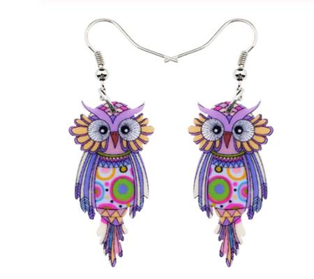 Purple Owl Acrylic Earrings